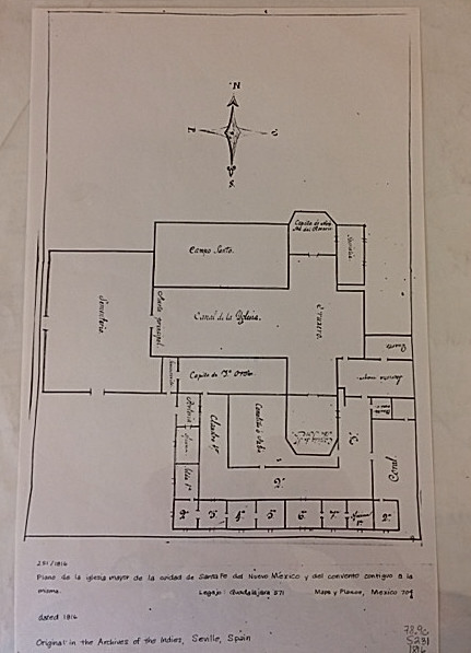 1816 Plan de la Iglesia Major. A very inaccurate floor plan of Santa Fe's Parroquia.