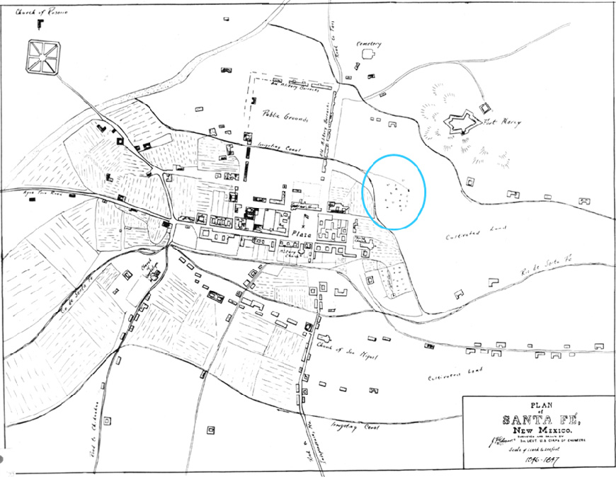1846 Plan of Santa Fe by Gilmer. Map of Santa Fe by Lt. Gilmer, Corps of Engineers, who accompanied Kearney to Santa Fe.