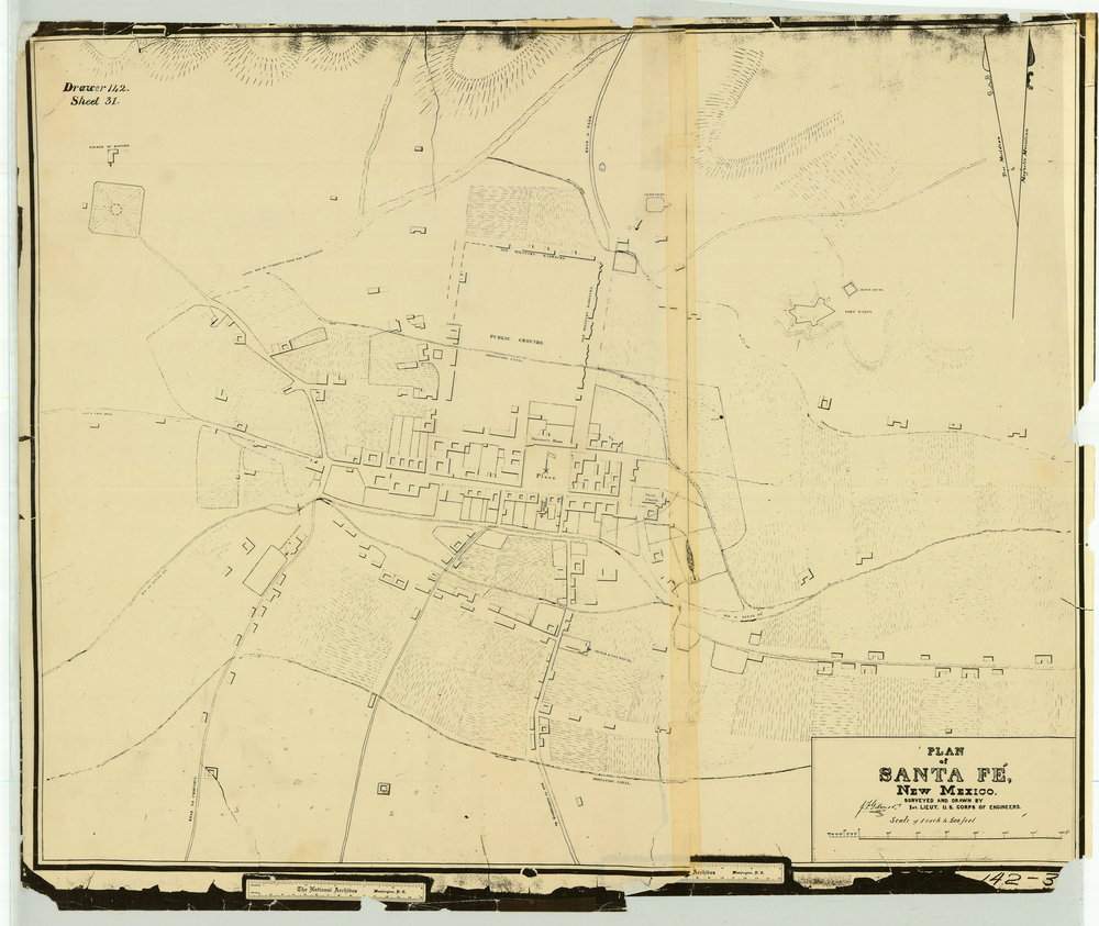 1846 August 19 Reconnaissance of Santa Fe by Gilmer. Surveyed and drawn by Lts. Emory and Gilmer. Evidently a first draft, preliminary to the 1846 Plan.