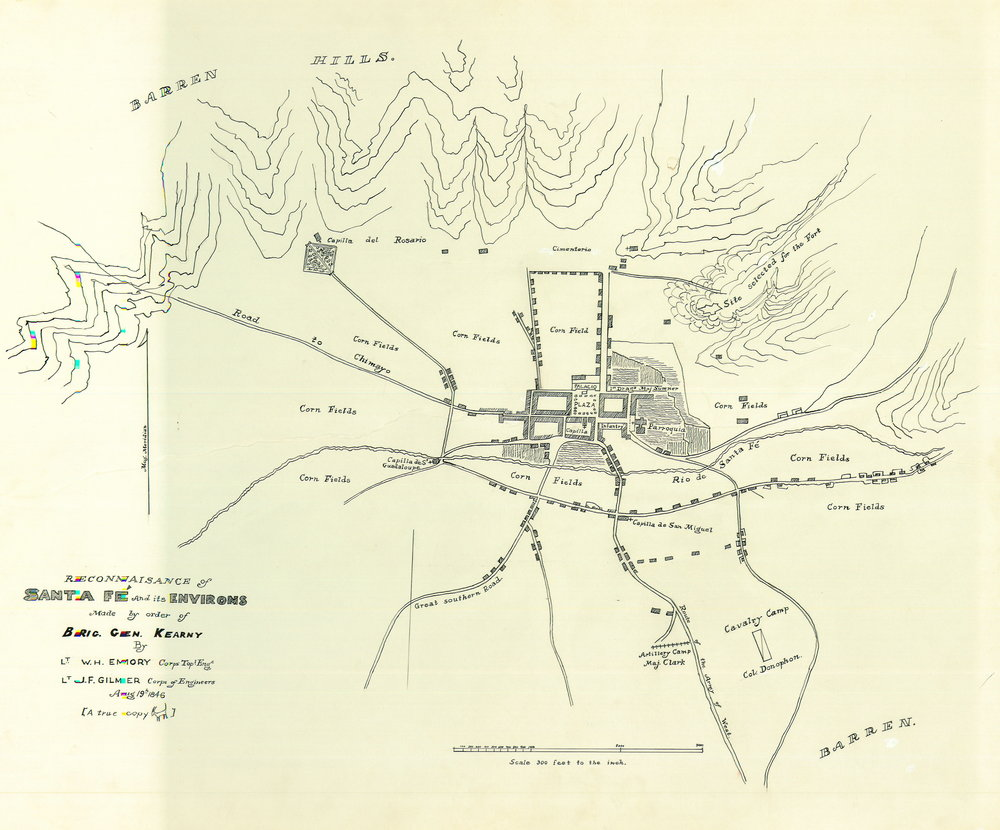 1846-47 Map of Santa Fe with cienega area highlighted by Tara Plewa. Gilmer map with highlight from A Trickle Runs Through It: An Environmental History of the Santa Fe River, PhD Dissertation, 2009.