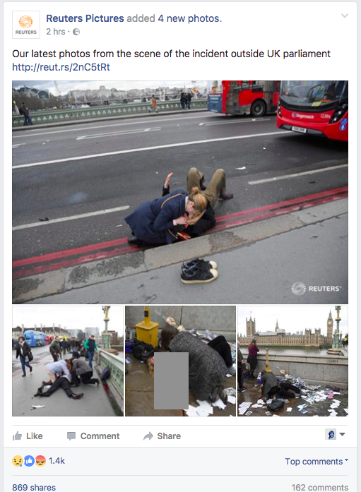 Screen capture of recent Facebook post from Reuters Pictures about the attack in Westminster, London, 22 March 2017.