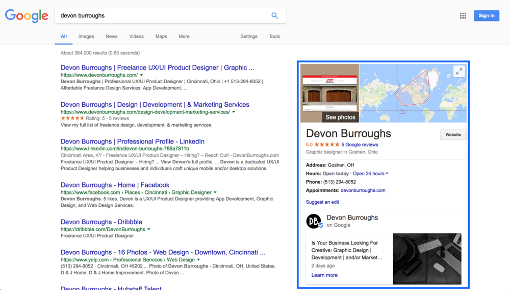 Image of my Google Business Page