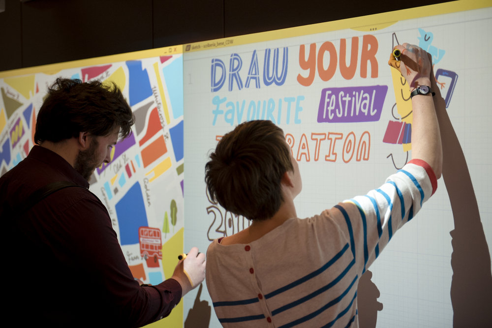Digital scribing on Bene's Nice Wall, Clerkenwell Design Week | Scriberia