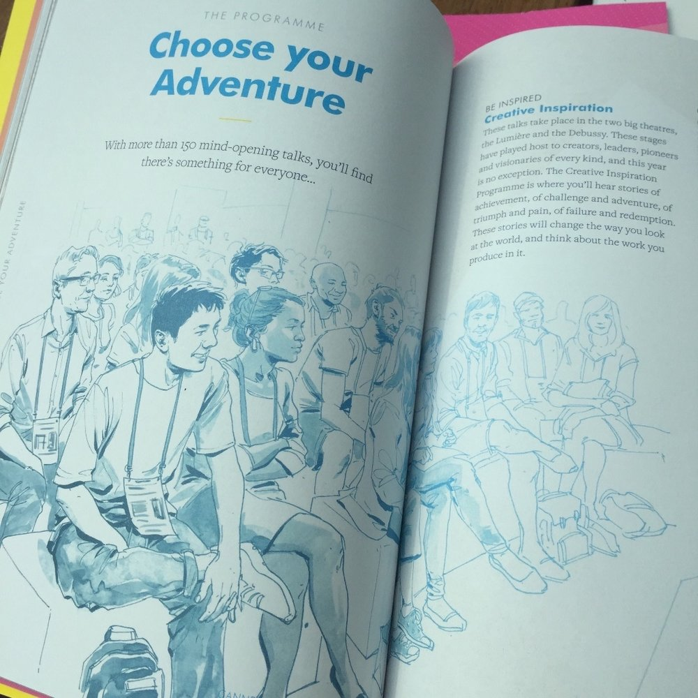Cannes Lions is festooned with the illustrations of Scriberian Rupert Smissen Brochure