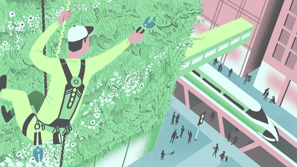 'Vertical Gardener' illustration taken from MR PORTER's piece, 'Six Jobs Of Tomorrow To Train For Today'