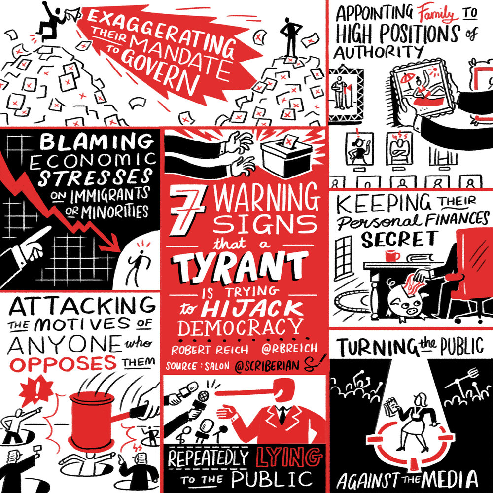 Seven signs that a tyrant is trying to hijack democracy, by Robert Reich. Source: Salon