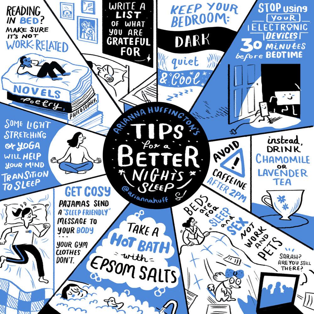 Arianna Huffington's tips for a better night's sleep. Source:  ariannahuffington.com