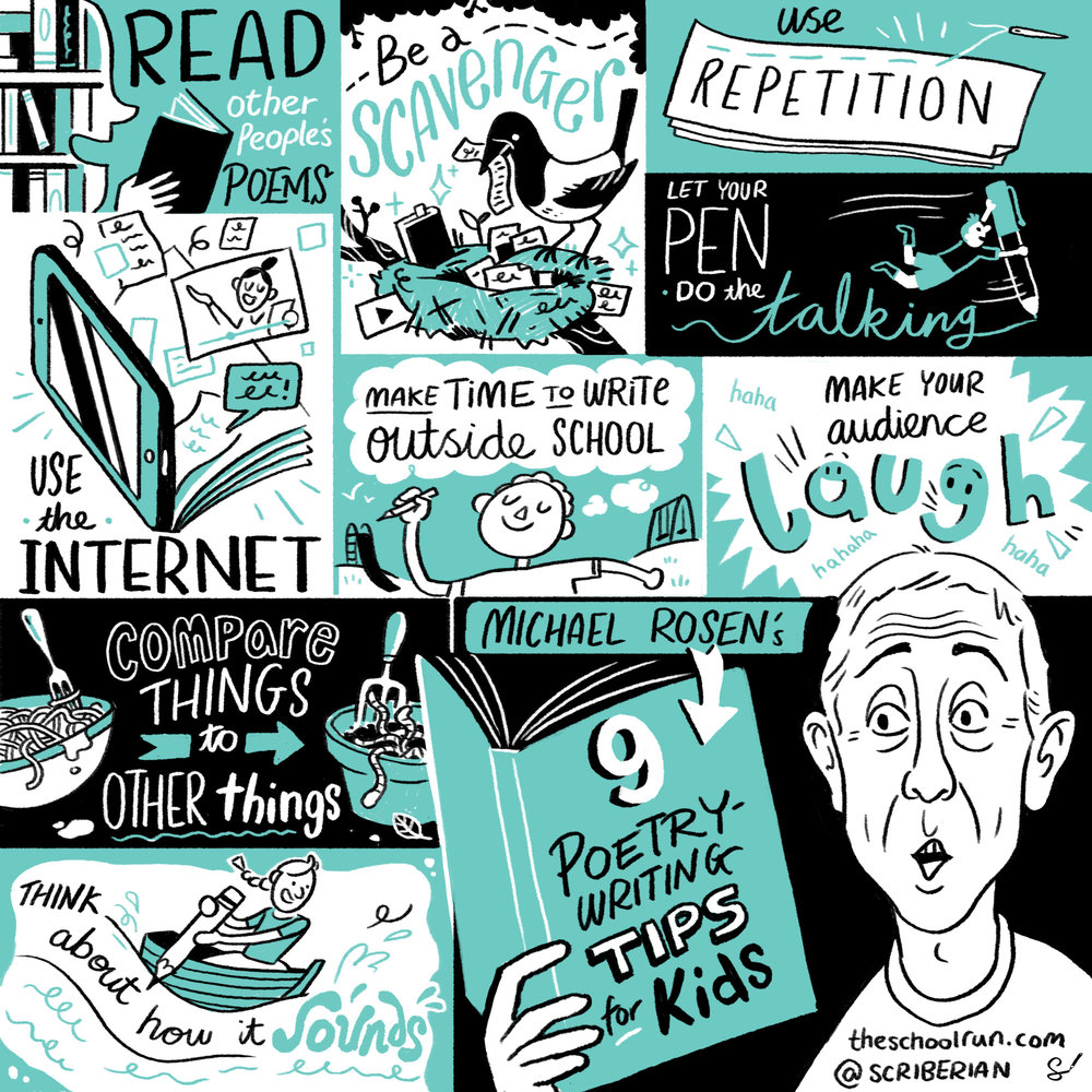 Nine poetry-writing tips for kids, by Michael Rosen. Source:  The School Run