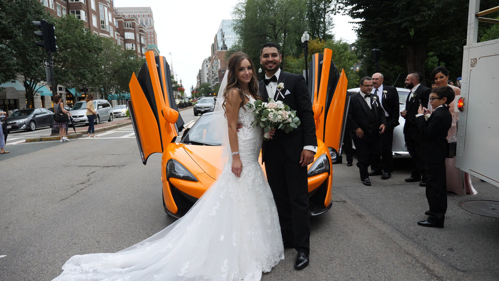 Bride & Groom at the Boston Commons in front of a McLaren.