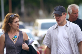 Matt Damon and producer, Sabrina McCormick, on location in Los Angeles.