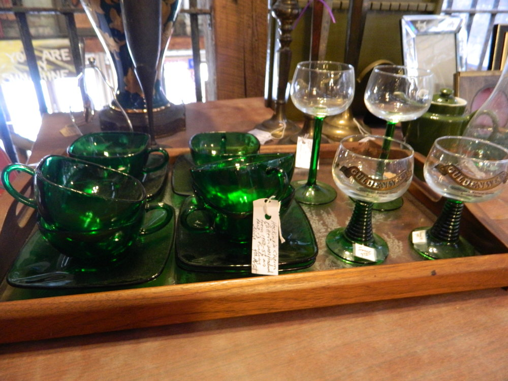 Collin and I quite enjoy going to Estate Sales and we usually try to make it to one each weekend.  I love vintage glasses and I have to stop myself from purchasing some at every single one we go to.  I refrained at this particular Estate Sale but aren't those green stems to die for?