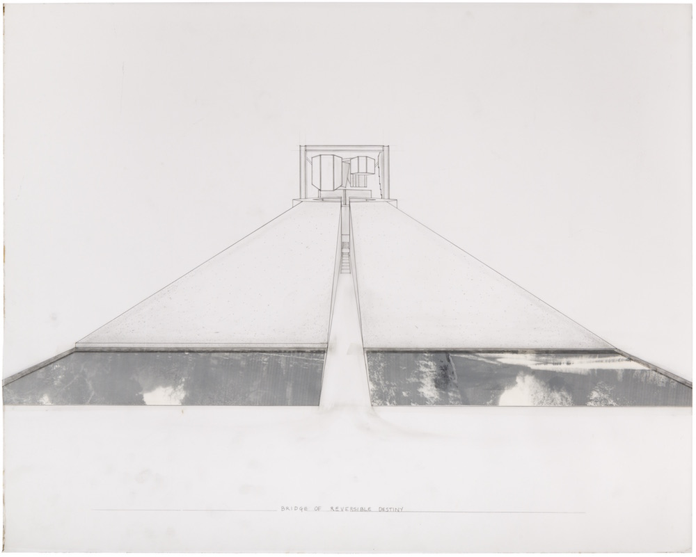 Arakawa and Madeline Gins,  Perspectival view showing entrance to 'Bridge of Reversible Destiny,'  1989. Graphite and collage on vellum, 24 x 30 in. © 2018 Estate of Madeline Gins. Reproduced with permission of the Estate of Madeline Gins. Photo: Nicholas Knight. Courtesy of Columbia GSAPP.