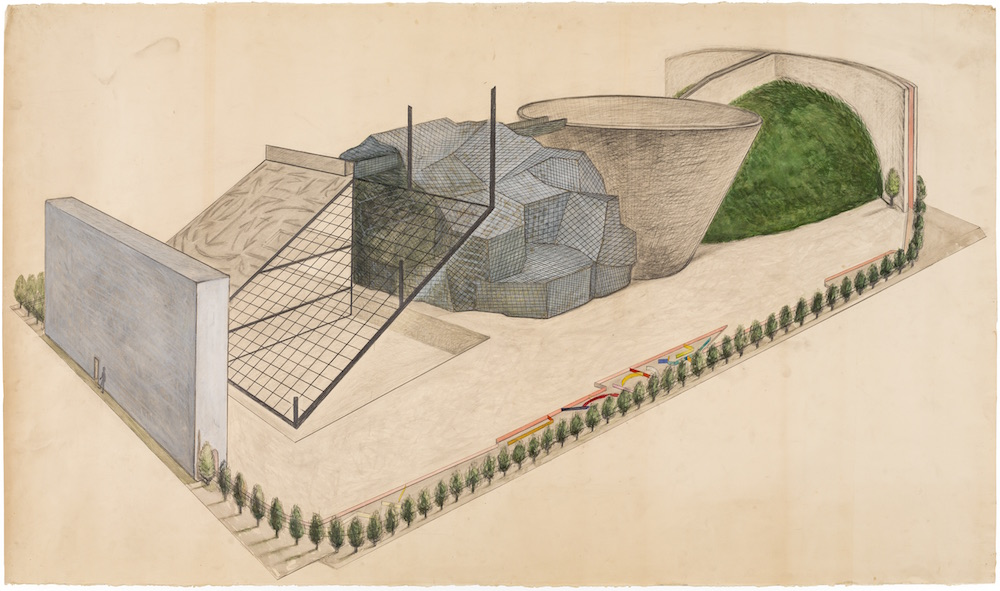 Arakawa and Madeline Gins,  Drawing for 'Container of Perceiving,'  1984. Acrylic, watercolor, and graphite on paper, 42 1/2 x 72 3/4 in. © 2018 Estate of Madeline Gins. Reproduced with permission of the Estate of Madeline Gins. Photo: Nicholas Knight. Courtesy of Columbia GSAPP.