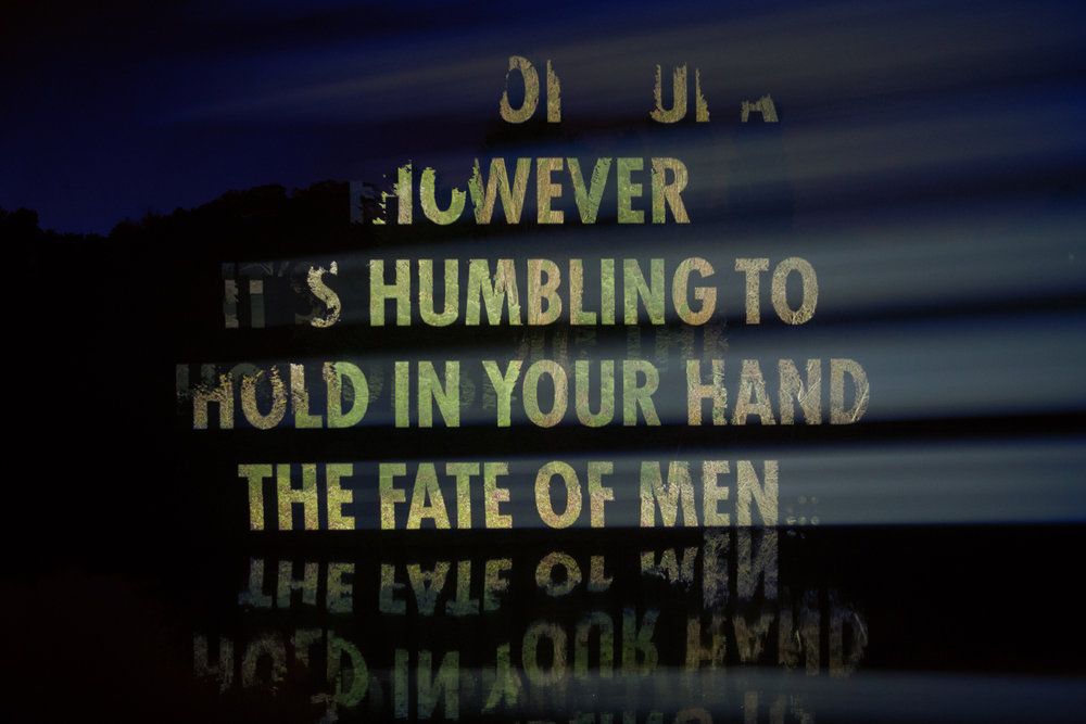 Jenny Holzer,  ON WAR , 2017 (detail) Text: Interviews with current and former members of the British military, © 2017 by the Not Forgotten Association. Used with permission of the Not Forgotten Association. © 2017 Jenny Holzer, member Artists Rights Society (ARS), NY Photo: Samuel Keyte. Courtesy of the artist.