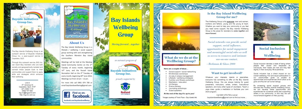 Bay Islands Wellbeing Group Brochure - Peer Support group for residents of the Southern Moreton Bay Islands