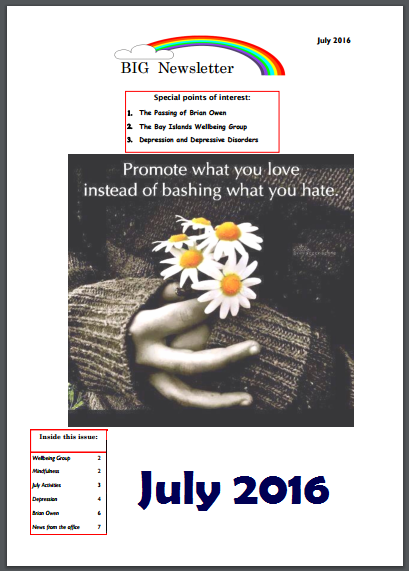 BIG Newsletter - July 2016 - Bayside Initiatives Group Inc. a unique peer support based mental health service based in Capalaba, Redland City, Queensland.
