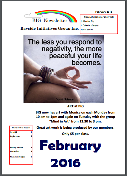 BIG Newsletter - February 2016 - Bayside Initiatives Group Inc. a unique peer support based mental health service based in Capalaba, Redland City, Queensland.