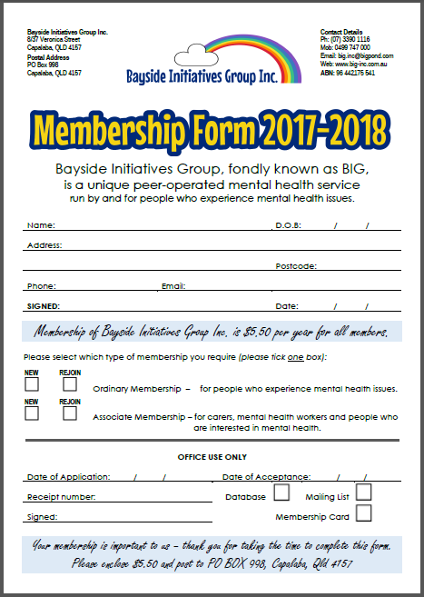 Bayside Initiatives Group Inc. Membership Form