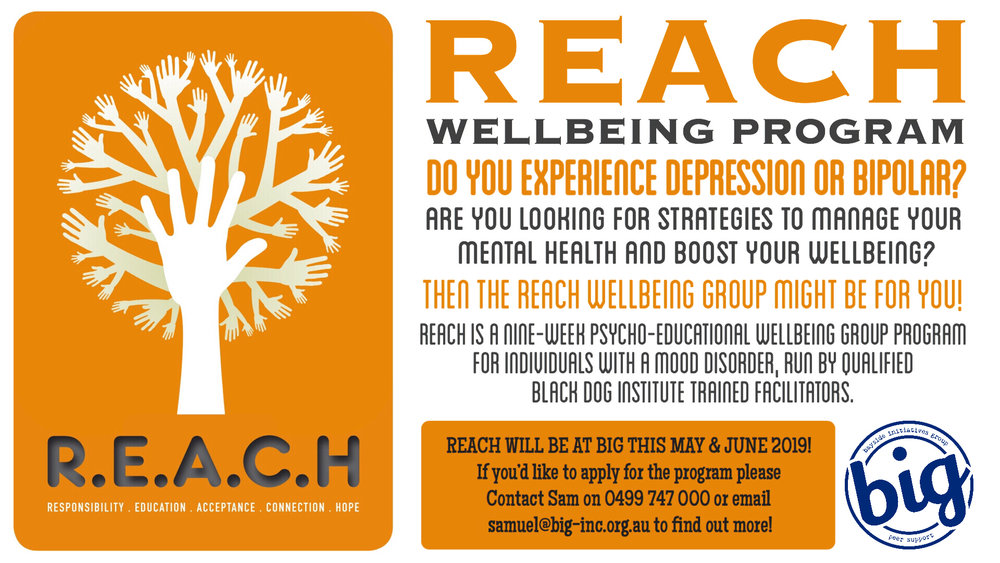REACH Wellbeing Group - Black Dog Institute - A 9 week psycho-educational program for people who experience depression and bipolar - learn skills and strategies to better manage your mental health and boost well being - brought to by BIG Bayside Initiatives Group - a peer support community located in Capalaba, QLD - The Redlands only fully peer run mental health service.