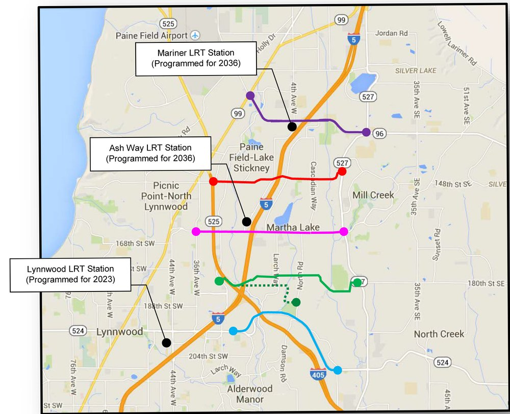 The Study Considered Five Different Corridors to enhance connections to Planned Sound Transit LRT Stations