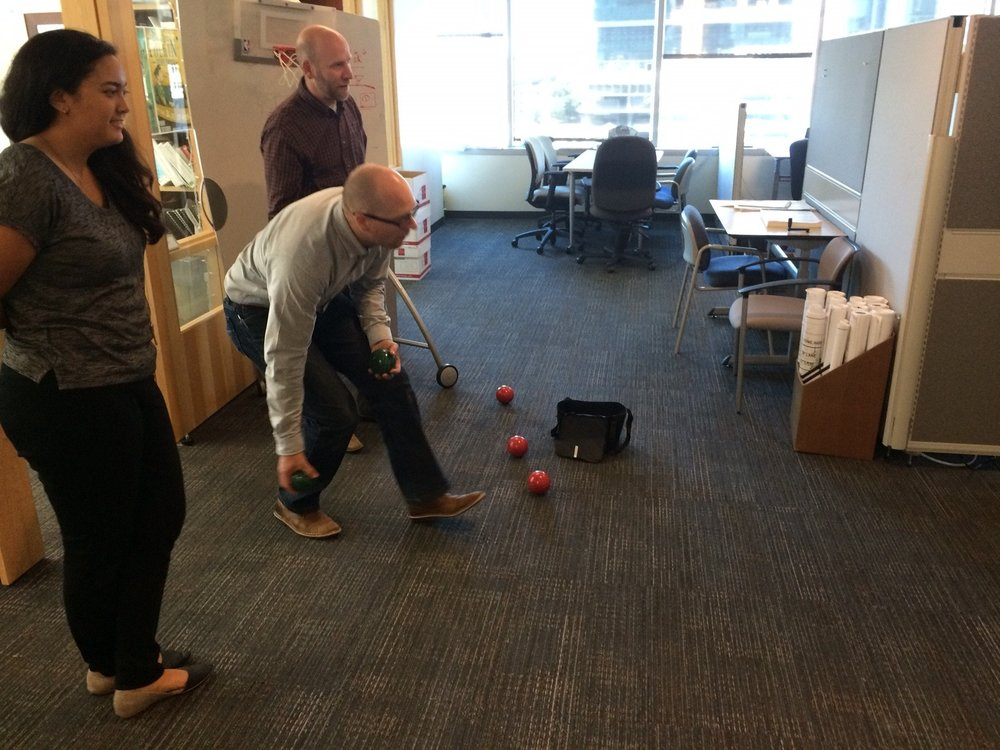 Office Bocce Ball game