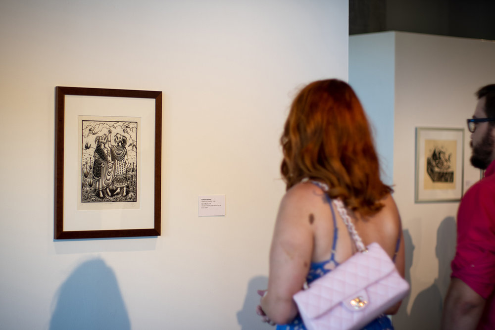 Linoleum block print by Kathleen Neeley.  Spection  opening reception, August 3, 2018.  Photo credit: Thomas Shahan