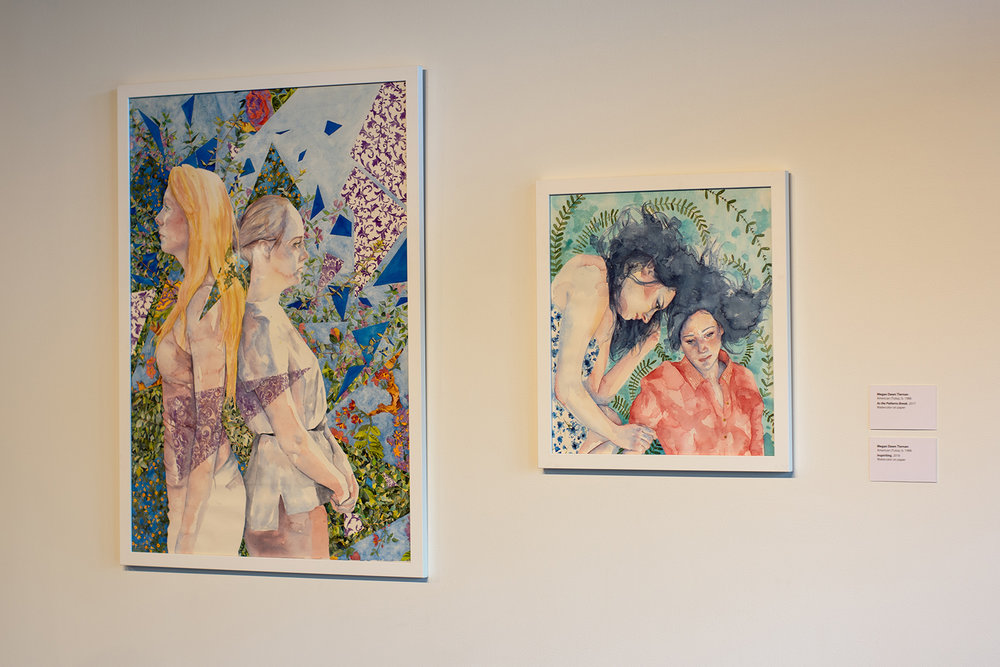 Watercolor paintings by Megan Dawn Tiernan.  Spection  opening reception, August 3, 2018.  Photo credit: Thomas Shahan
