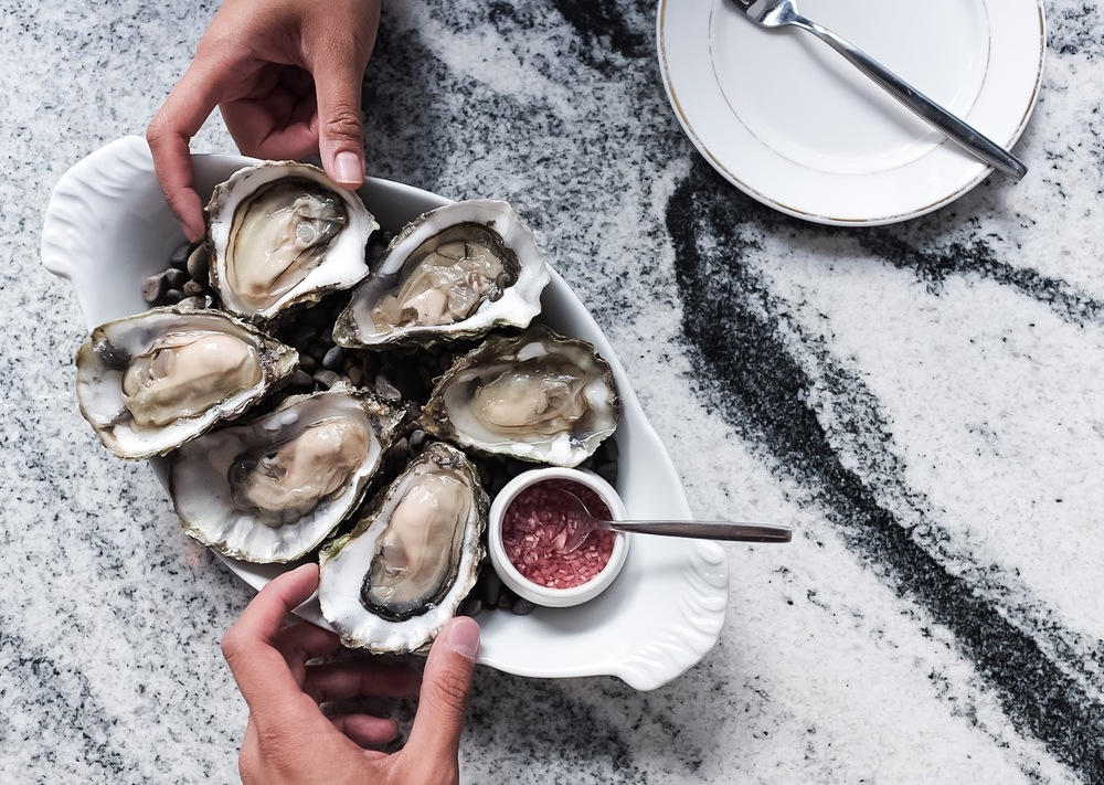 The deliciously meaty oysters paired with a house made mignonette.