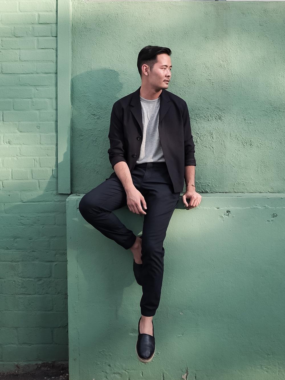 Jacket: COS, teeshirt: Theory, pants: Kit & Ace, shoes: MSGM, bracelet: Celine