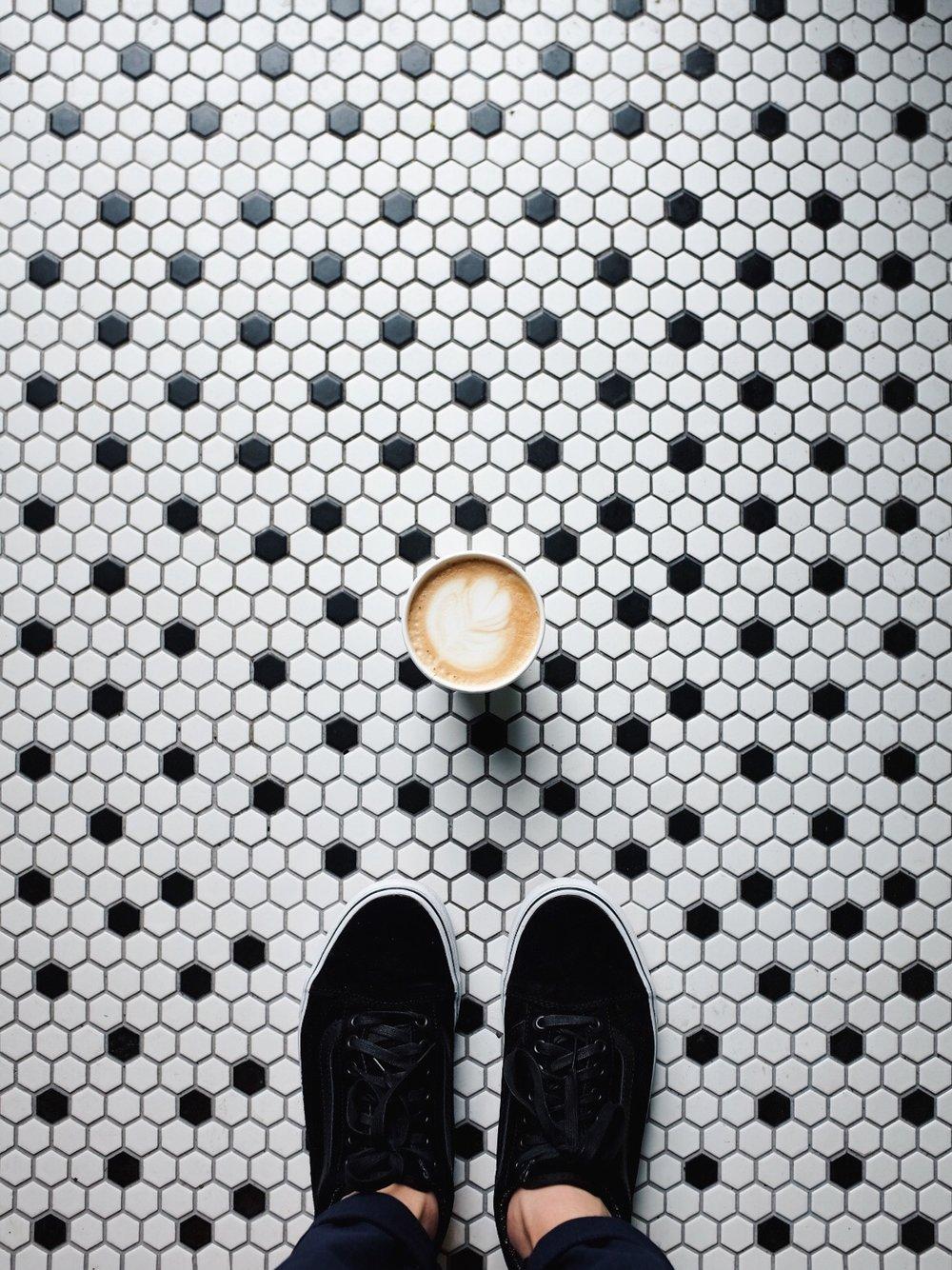 coffee shot on tiles vans