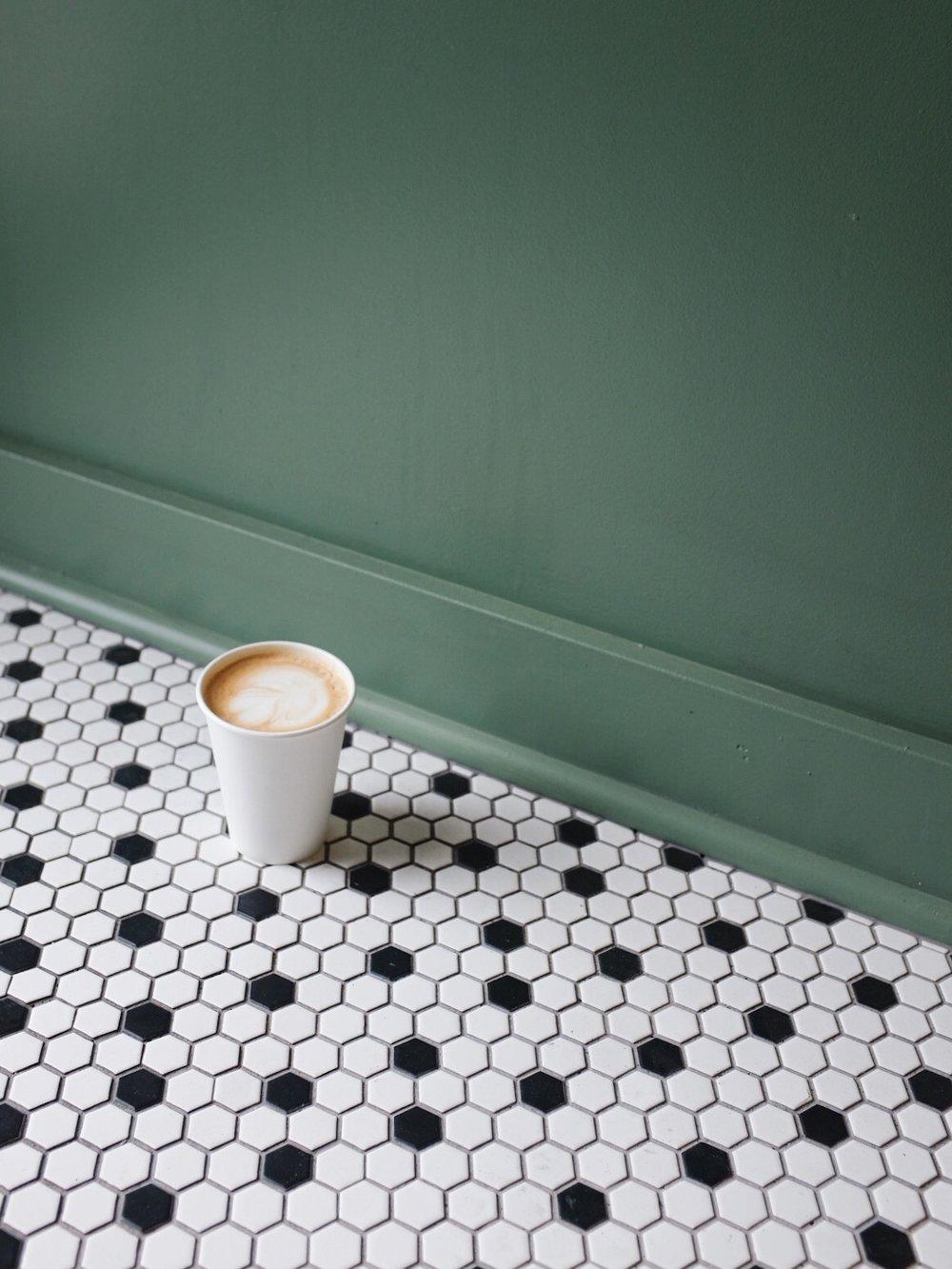 minimal coffee shot tiles