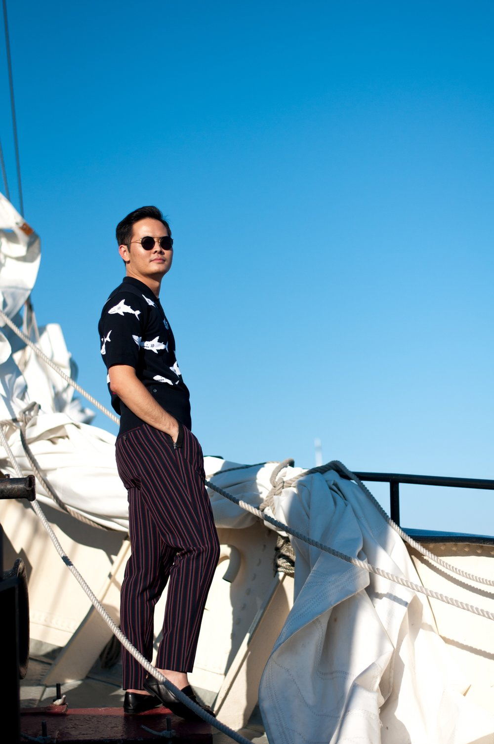 outfit thom browne shark wooyoungmi fashion pirate
