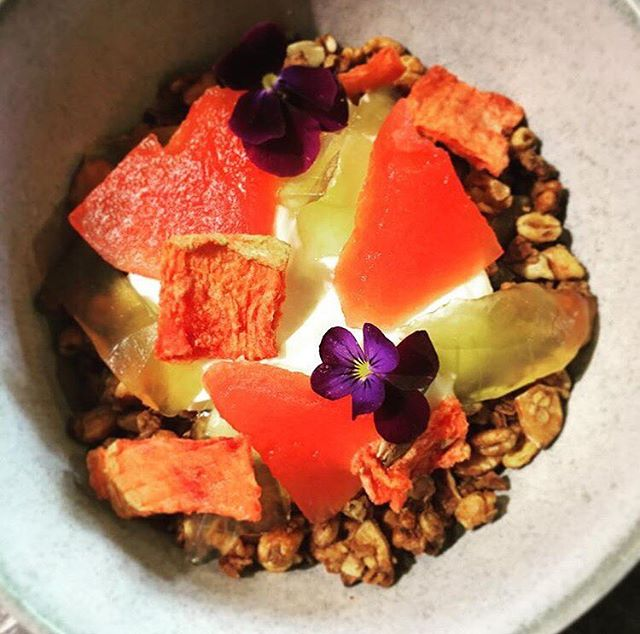 We are always trying to minimise our food waste. There are so many commonly wasted products that, with a little thought, can be transformed into something delicious. Our new granola dish uses every part of the watermelon – except the very outer skin. Some of the flesh is compressed with a summer fruit tea, while some is dehydrated to create a watermelon leather. The rind is simmered in a syrup to create a soft jelly – and it all comes together with our house made probiotic yoghurt and spelt and macadamia muesli!