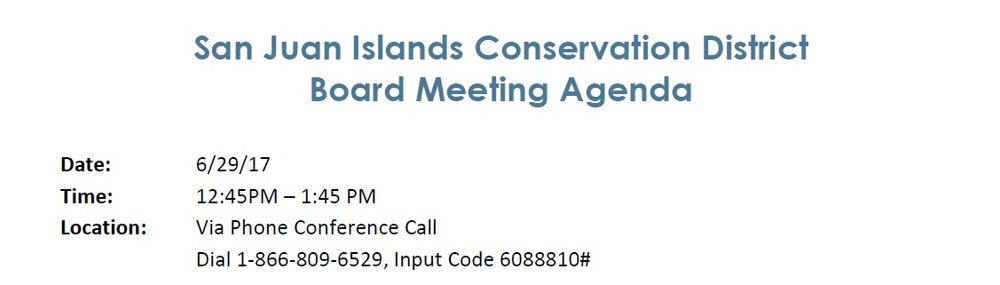 San Juan Islands Conservation District Board Meeting Agenda — Sji