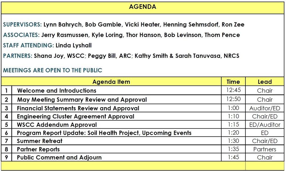 San Juan Islands Conservation District Board Meeting Agenda Sji