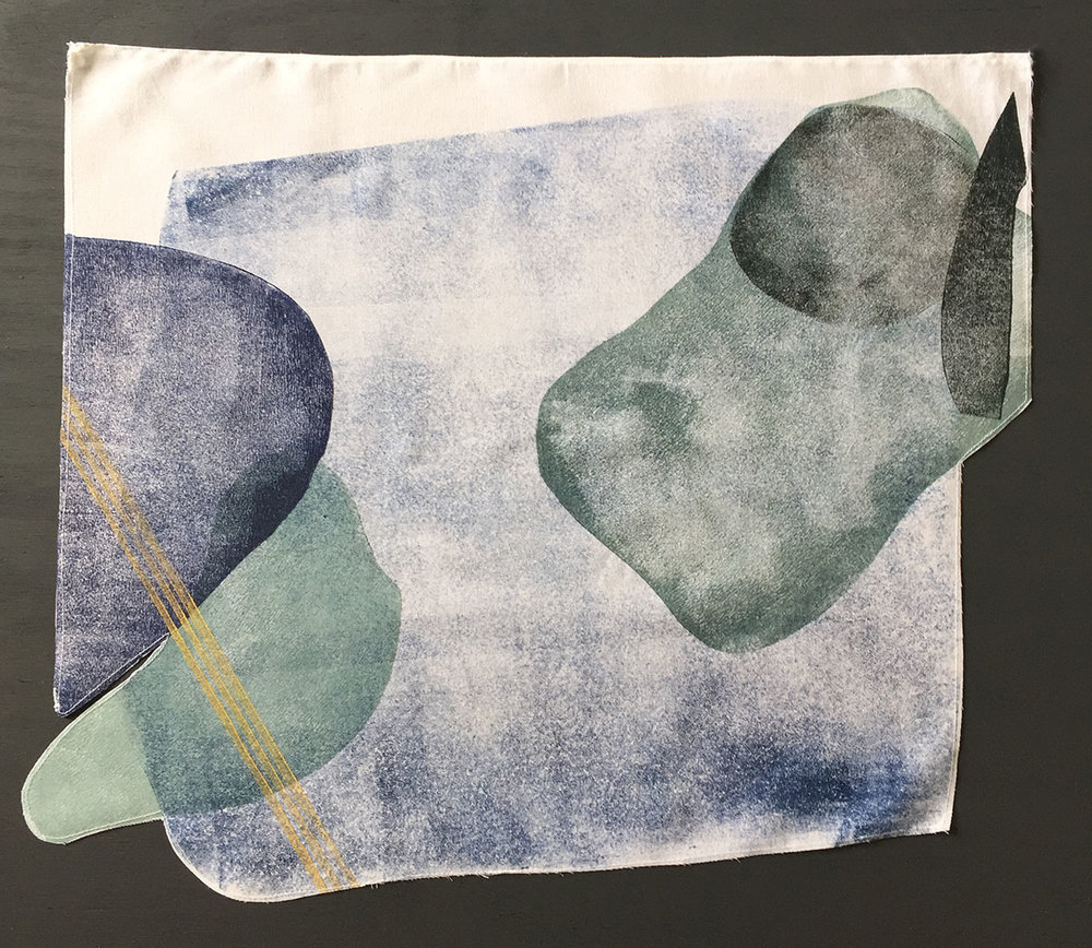 "Three Hours is Needed Block printed on muslin; shades of charcoal, indigo, gold and sea foam green; 24""x24"""