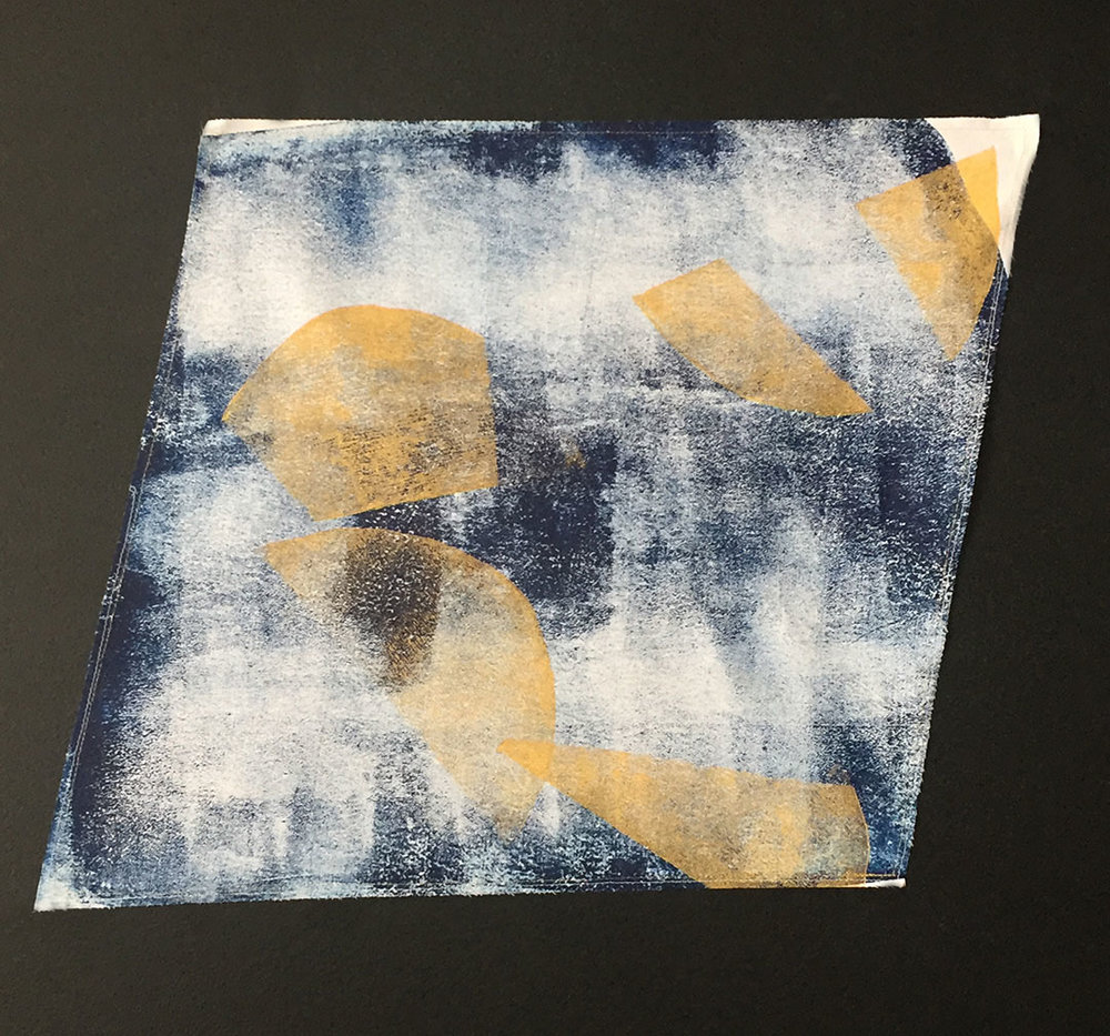 "Road Paved with Gold Block printed on muslin; shades of gold and deep indigo; 20""x26"""