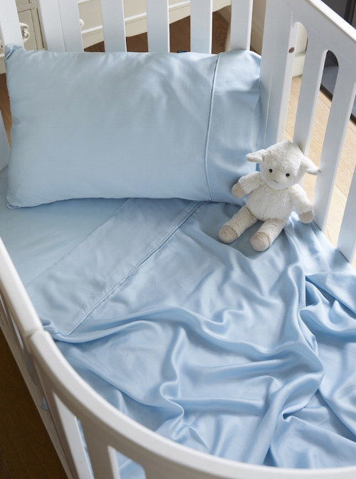 Bamboo Lyocell Cot Sheet Set in Starlight Blue