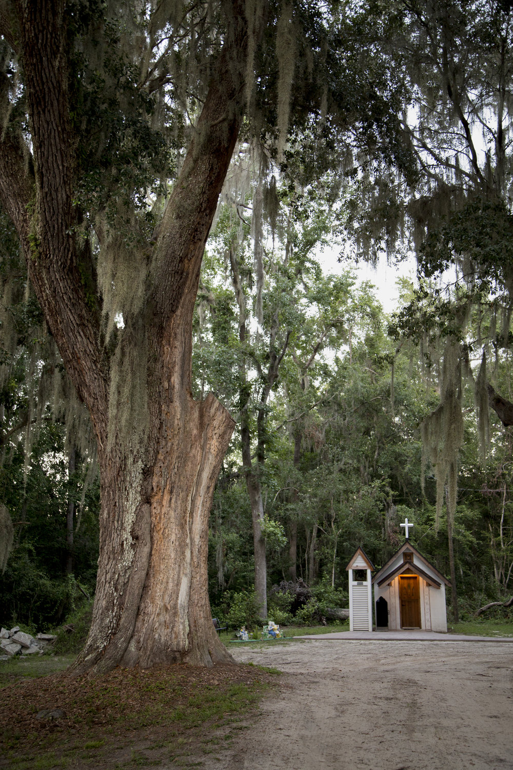 The Smallest Church in America is 10 feet wide and 15 feet long and seats only 12 people. It was built in 1949 by Anges Harper, a local grocer who wanted to use her meager means to serve God.