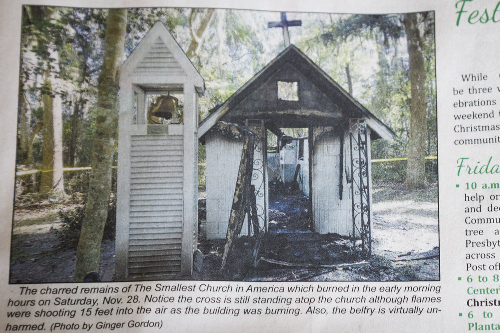 A photograph of the church after it burned down as a result of arson, committed on November 28th 2015. T