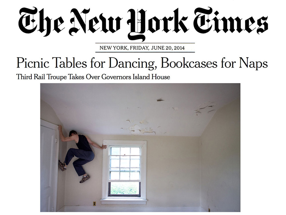 """The New York Times     Feature   June 19, 2014  Picnic Tables for Dancing, Bookcases for Naps   """"A """"family"""" of six is dancing in sync on the picnic table in the yard. Inside, a man and a woman are lying in fetal positions on the built-in bookshelves; and upstairs, another couple are practicing some moves inside a large closet."""" """"Eventually (though not this summer) the outside performance will meet the inside performance in an overall project called [ The Grand Paradise ]"""" -Helene Stapinski"""