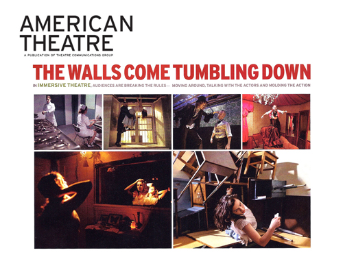 """American Theatre Magazine   July, 2013  The Walls Come Tumbling Down   """"It requires us to have an ease that we would have in everyday life,"""" says co-creator Tom Pearson, who plays the White Rabbit, sans bunny suit. """"It's very cinematic. When the screen is right there in front of your face, it picks up everything. It's the same when you're in a room with someone."""" - Diep Tran"""