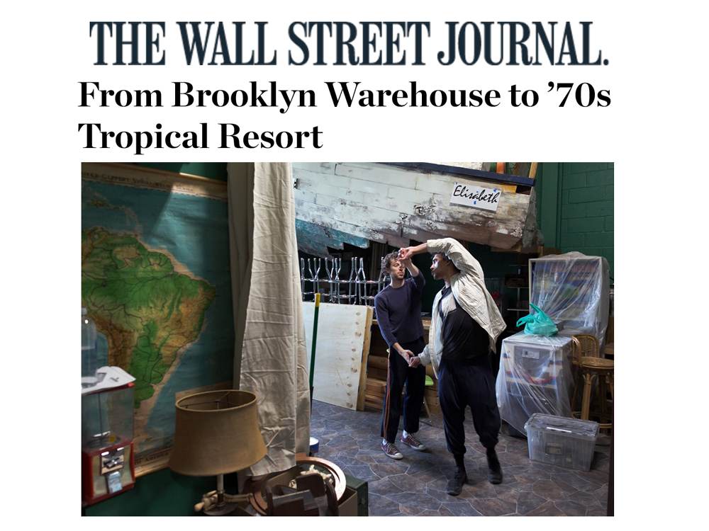 """The Wall Street Journal     Feature   January 28, 2016  From Brooklyn Warehouse to '70s Tropical Resort   """"Since Third Rail began creating site-specific and site-adaptive work in 2006, their productions have been inextricably tied to the spaces in which they are performed… [The artistic directors] and the rest of the creative team have been able to fine-tune every aspect of the experience."""" -Darryn King"""