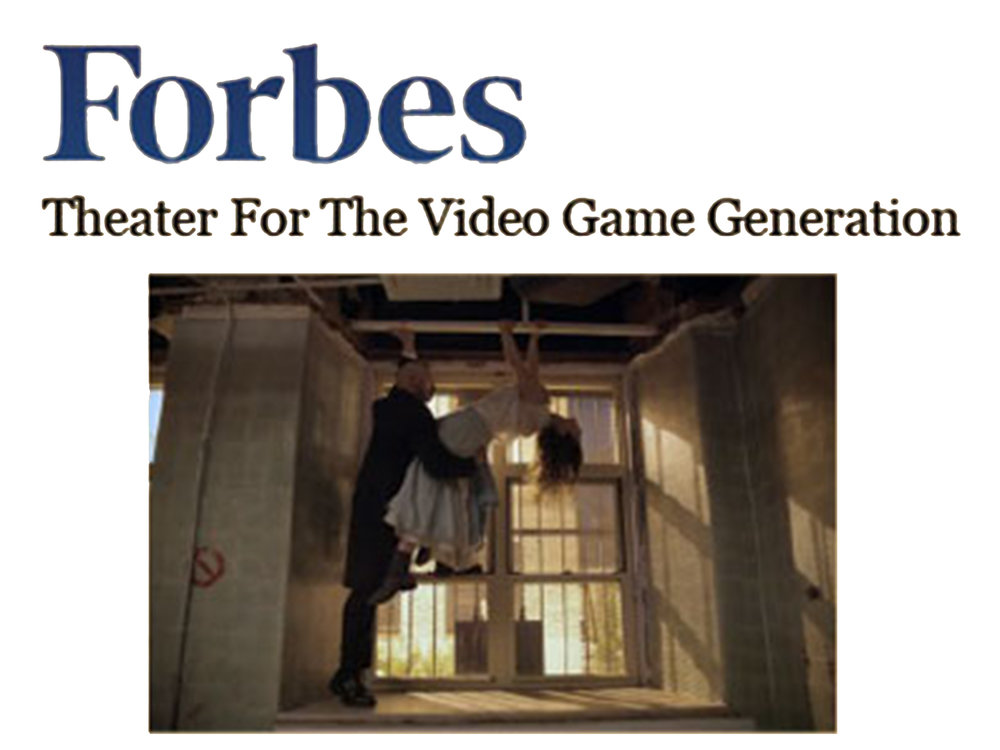 """Forbes     Feature   October 29, 2012  Theater for the Video Game Generation   """"Secret rooms and passageways are the norm, as are sets that guests are encouraged to explore by sifting through drawers, pockets, and papers. Think of them as haunted houses that do more than just scare.""""- Seth Porges"""