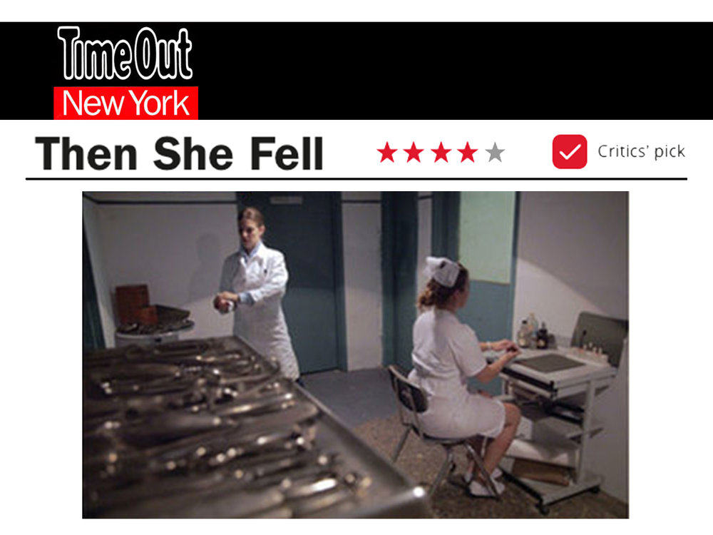 """Time Out New York    Review   October 8, 2012  Alice gets a new Wonderland: an abandoned hospital in Greenpoint, Brooklyn   CRITIC'S PICK   4 STARS: """"Stunningly personal… When you peer into the looking glass, it stares right back at you."""" -Jenna Scherer"""
