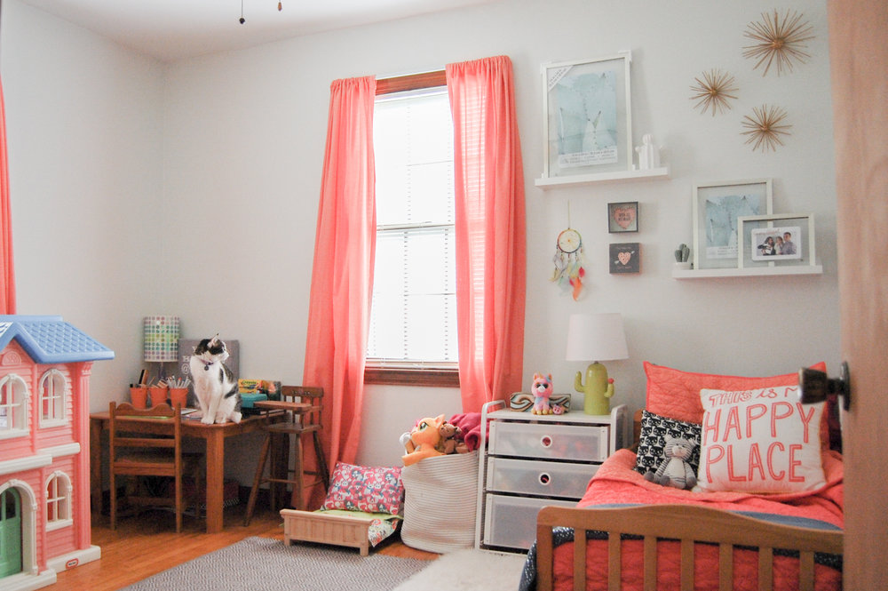 Toddler Girl room with Pink bedding and grey owl ben moore paint | MEOW LADY