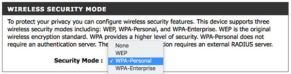 Securing your D-Link wireless router with WPA-Personal security mode