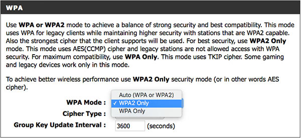 securing a D-Link wireless router with WPA2 security mode