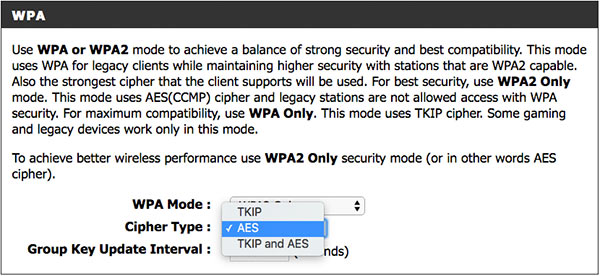 Select AES as the cypher type for maximum wifi network security