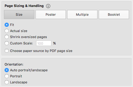 Set the Size to 'Fit' and uncheck 'Choose paper source by PDF page size'